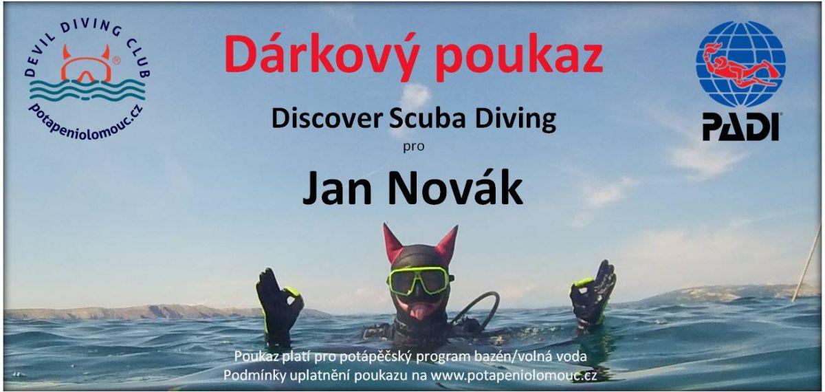 Dárkový poukaz Discover Scuba Diving - individuální potápění na zkoušku ve volné vodě